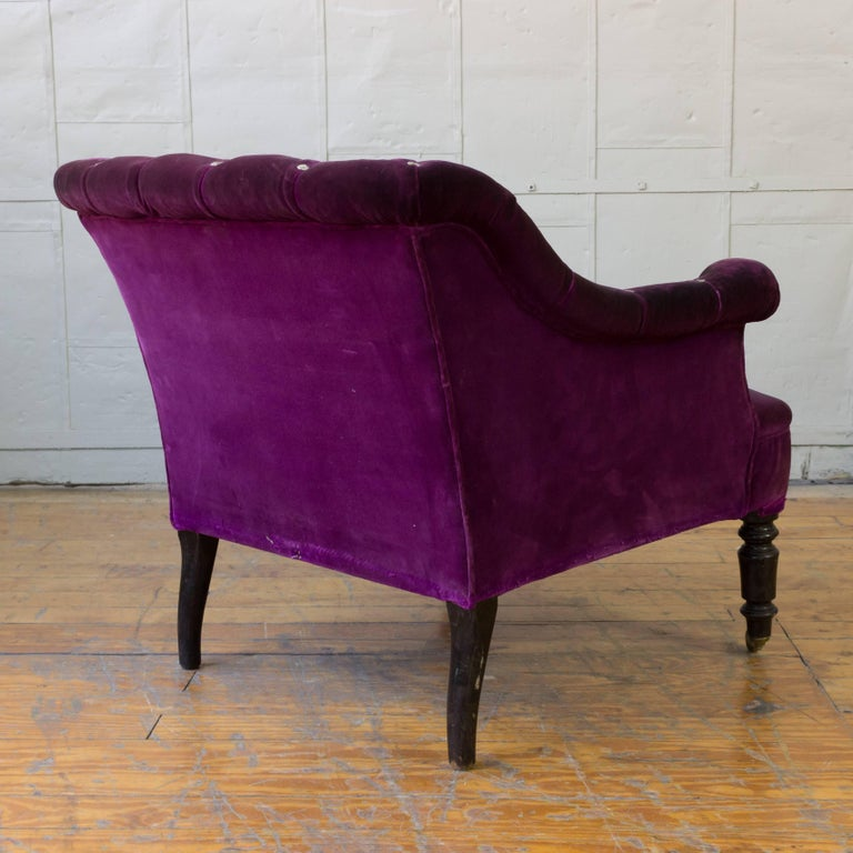 French 19th Century Armchair in Distressed Purple Velvet with White Braided Trim In Good Condition For Sale In Long Island City, NY