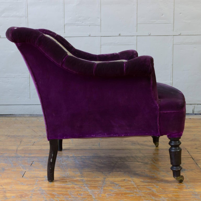 French 19th Century Armchair in Distressed Purple Velvet with White Braided Trim For Sale 3