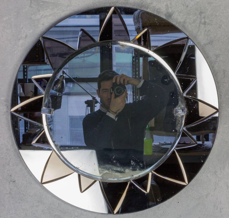 Unusual Art Deco Style Mirror with Rose Mirror Sunburst Design For Sale 5