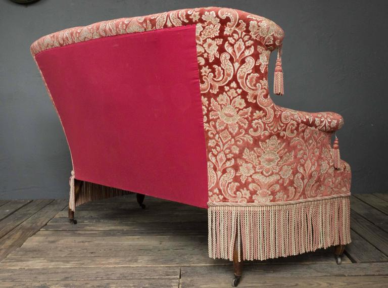 19th Century French Napoleon III Settee with Red Velvet and Bullion Fringe For Sale 2