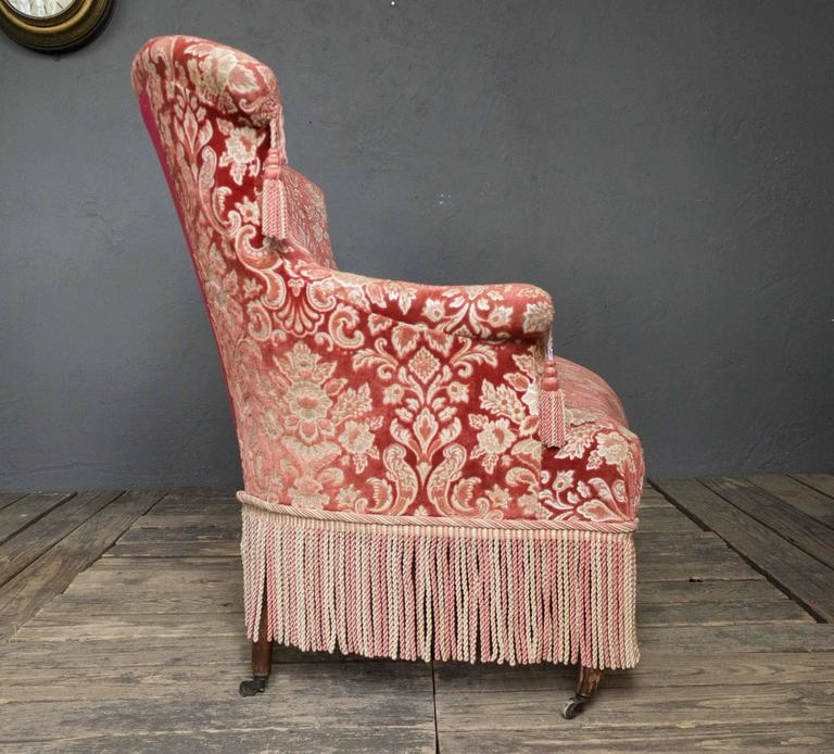 19th Century French Napoleon III Settee with Red Velvet and Bullion Fringe In Excellent Condition For Sale In Long Island City, NY