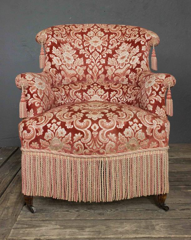 Charmant 19th Century French Pair Of Napoleon III Armchairs With Fringe And Tassels  In Excellent Condition For