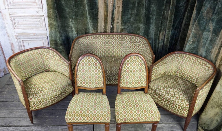 French Art Deco Settee with Curved Back For Sale 4