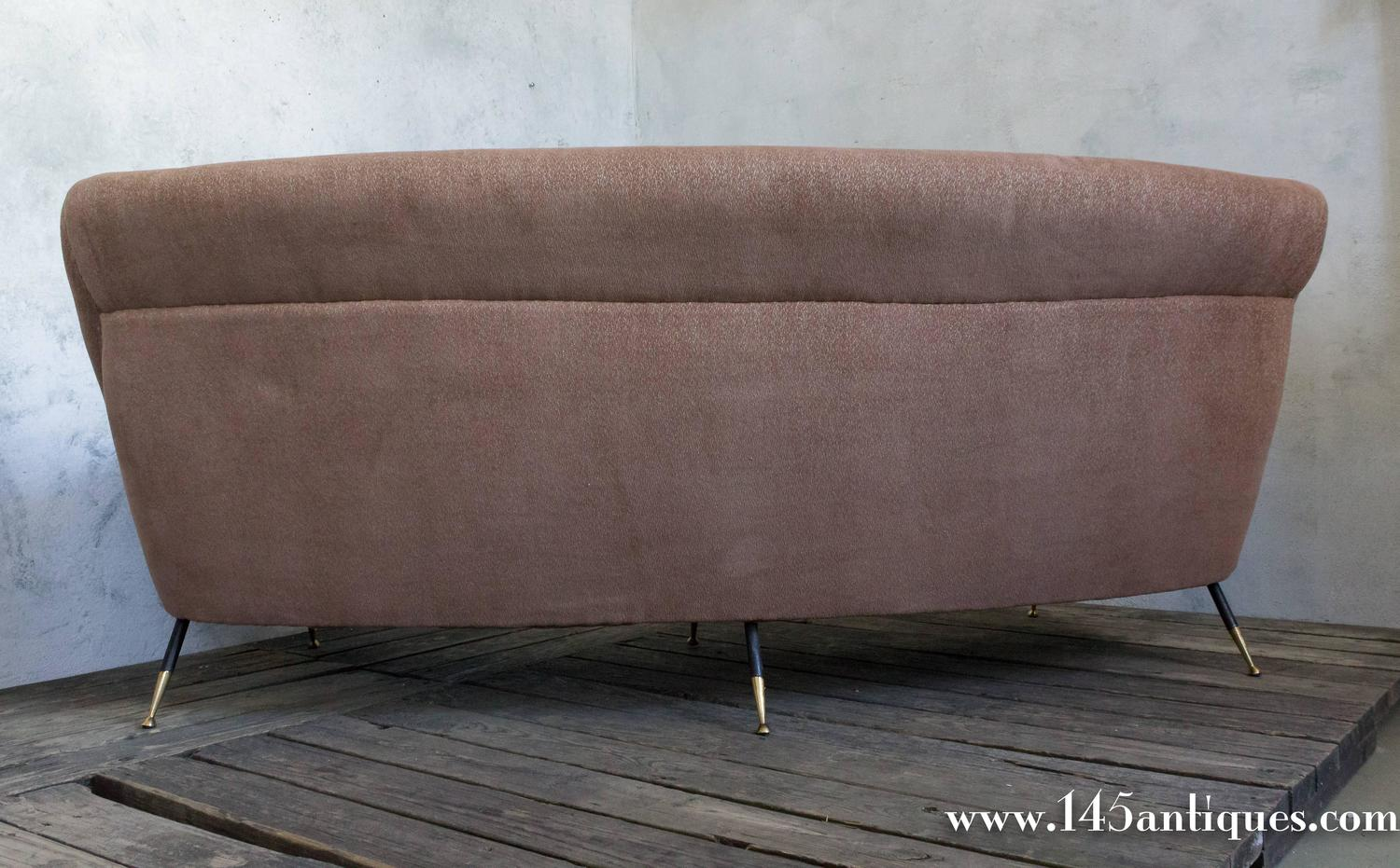 Large Italian Curved Back Sofa Attributed To Minotti For