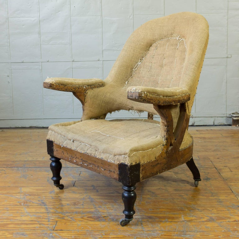Exposed framed Napoleon III armchair on casters, ready to be upholstered. Please contact for upholstery option.