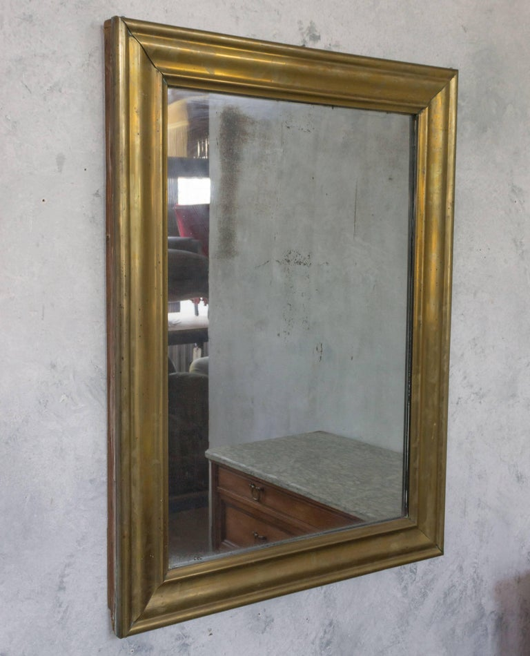 19th century french brass frame wall mirror with mercury glass for sale at 1stdibs. Black Bedroom Furniture Sets. Home Design Ideas