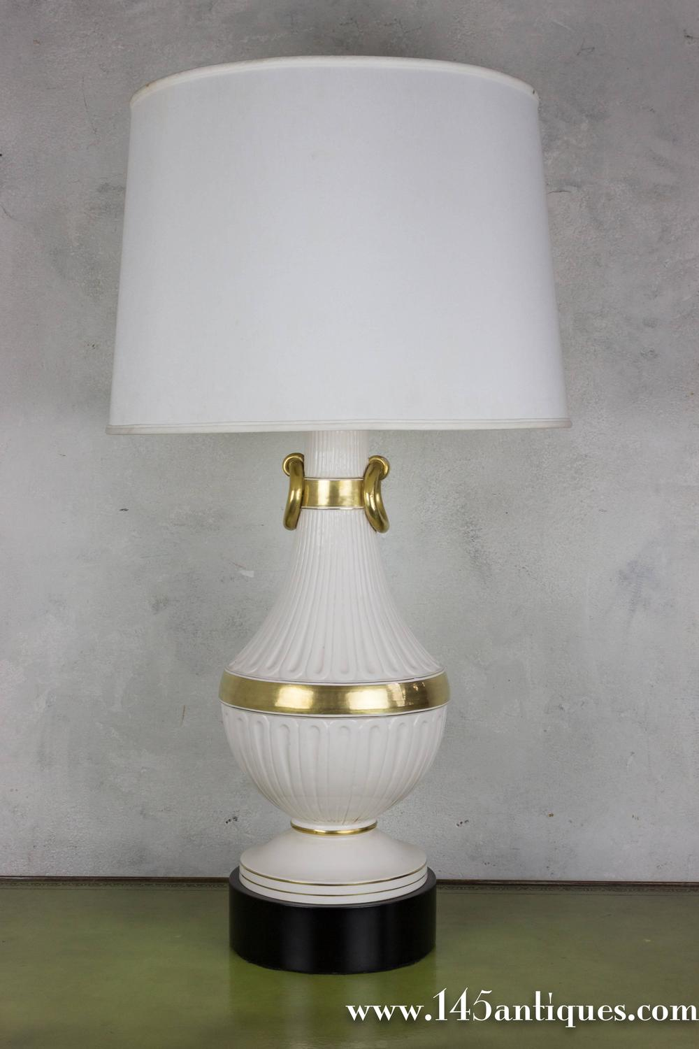 Large White And Gold Porcelain Lamp For Sale At 1stdibs