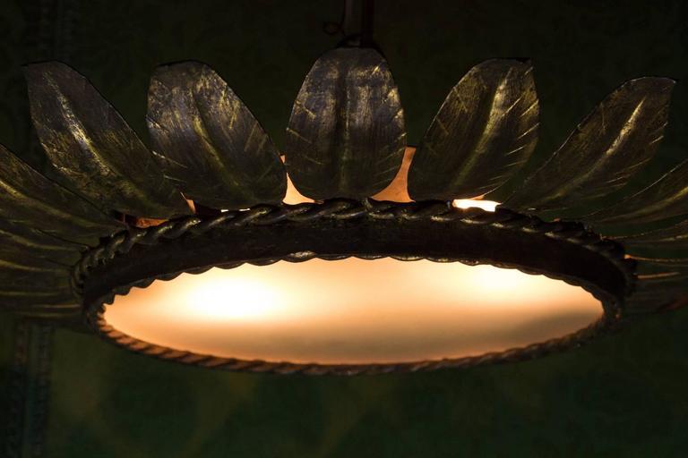 Spanish Sunburst Flush Mount Ceiling Fixture For Sale 4