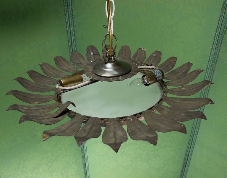 Metal Spanish Sunburst Flush Mount Ceiling Fixture For Sale