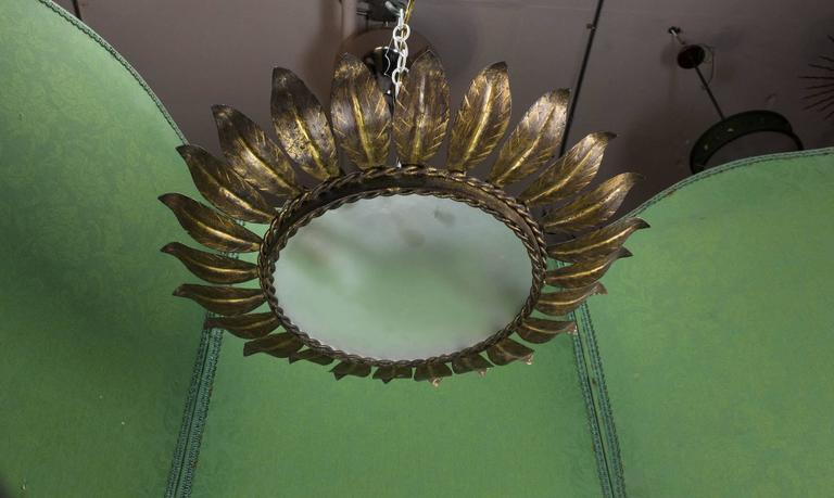 Spanish Sunburst Flush Mount Ceiling Fixture In Excellent Condition For Sale In Long Island City, NY