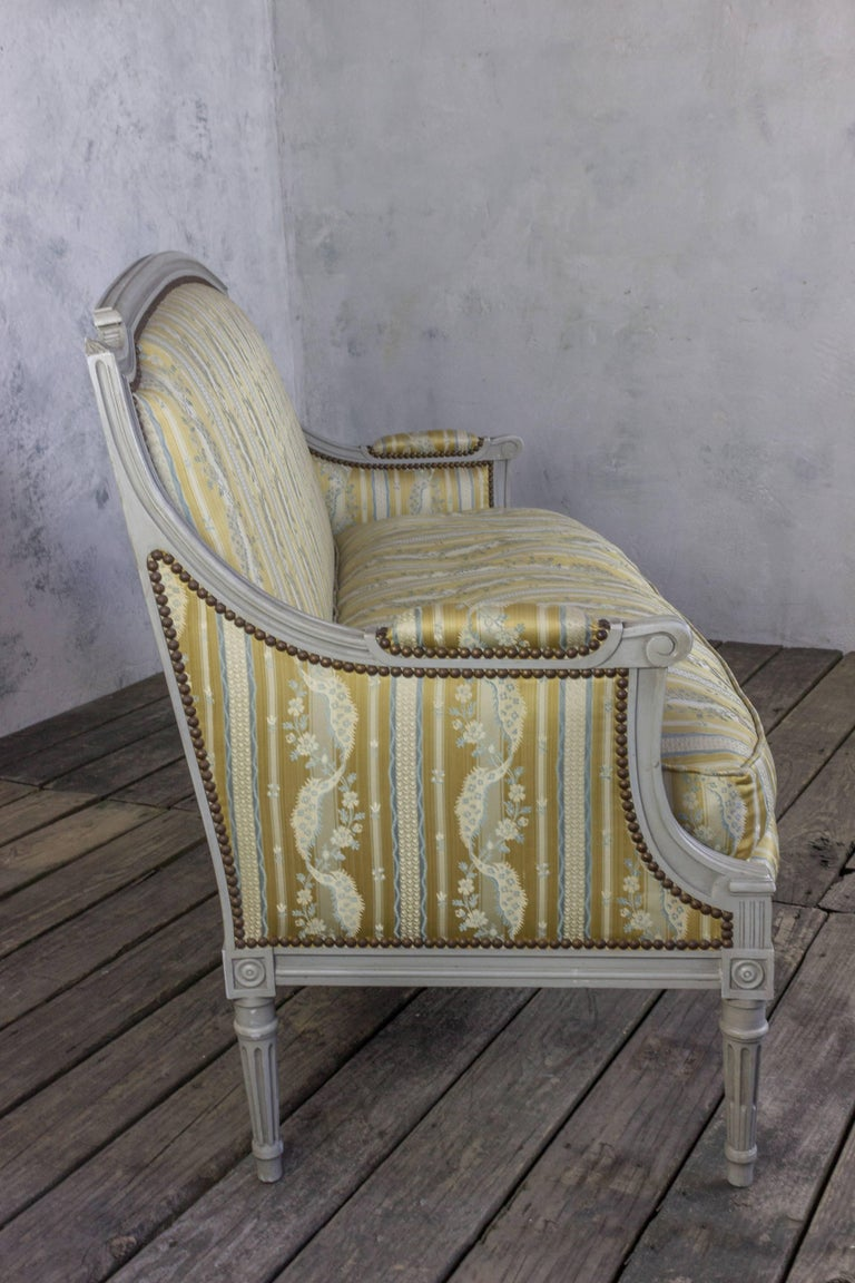 French Louis XVI Style Sofa with Painted Carved Frame For Sale 2