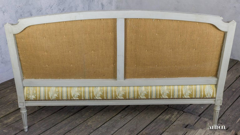 French Louis XVI Style Sofa with Painted Carved Frame For Sale 5
