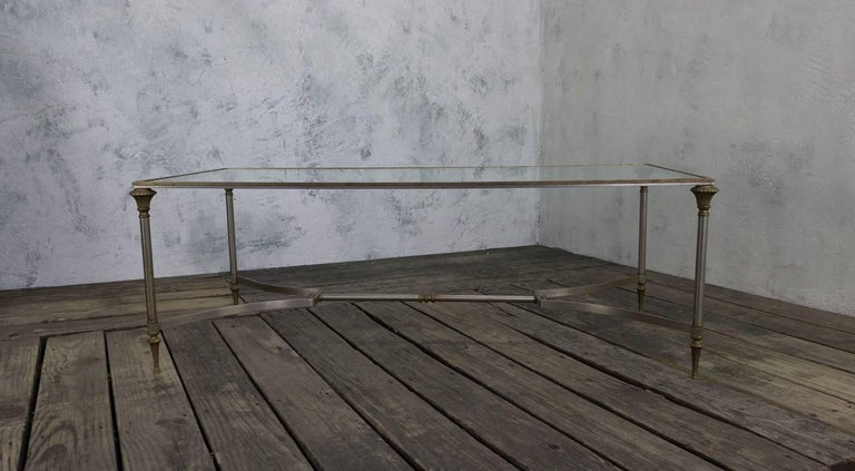 Iron and Brass Coffee Table in the Style of Maison Jansen In Good Condition For Sale In Long Island City, NY