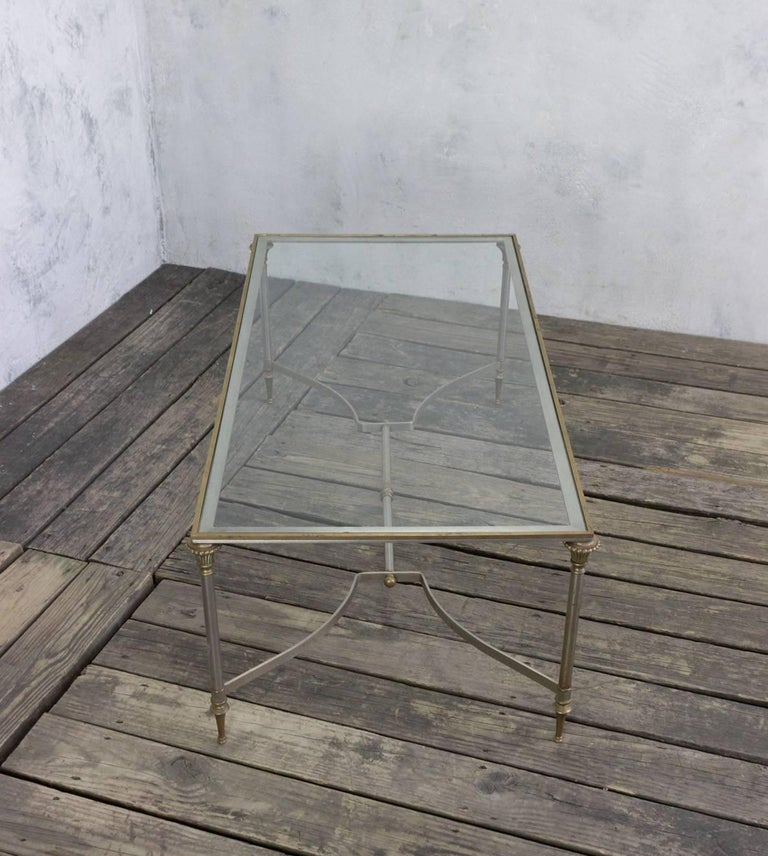 Iron and Brass Coffee Table in the Style of Maison Jansen For Sale 2