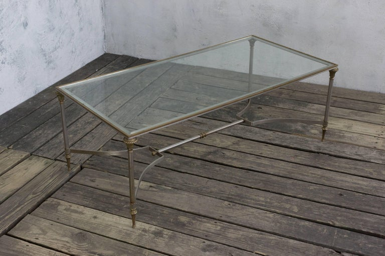 Iron and Brass Coffee Table in the Style of Maison Jansen For Sale 5