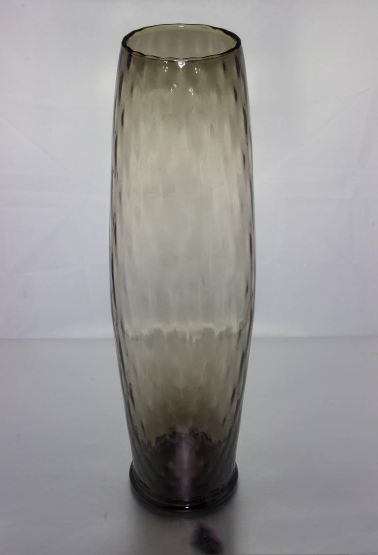 Tall smoky grey vase with a textured surface, Italian, 1950s.
