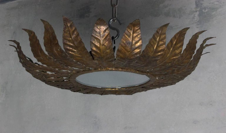 Spanish Gilt Metal Flush Mount Sunburst Ceiling Fixture In Good Condition For Sale In Long Island City, NY