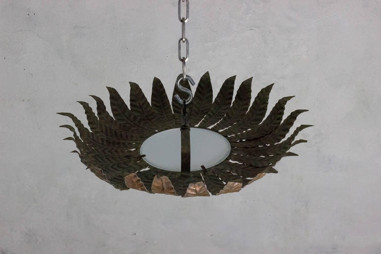 Spanish Gilt Metal Flush Mount Sunburst Ceiling Fixture For Sale 3