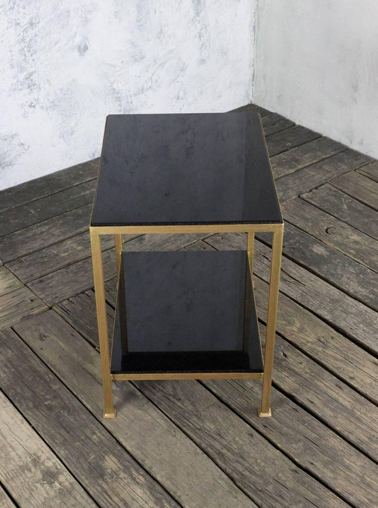 Marcelo Iron End Table With Polished Granite Surface For