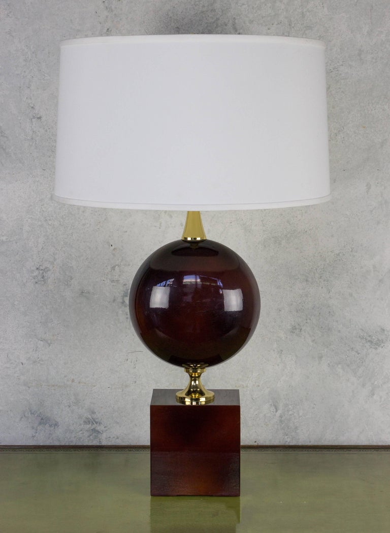 French Aubergine Enameled Table Lamp by Maison Barbier For Sale 1