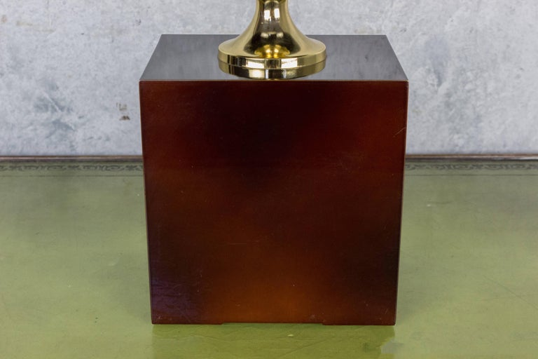 Brass French Aubergine Enameled Table Lamp by Maison Barbier For Sale
