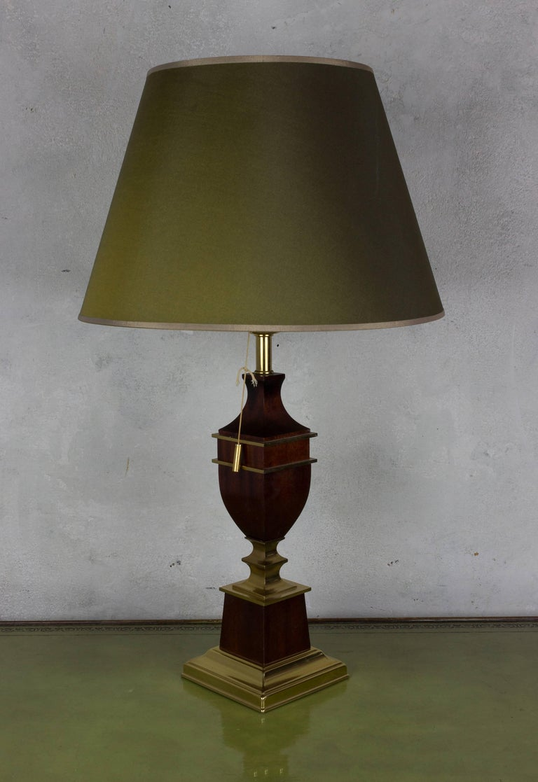 French brass and mahogany table lamp.