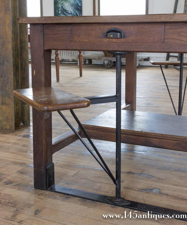 Large French Industrial Table With Swing Out Attached