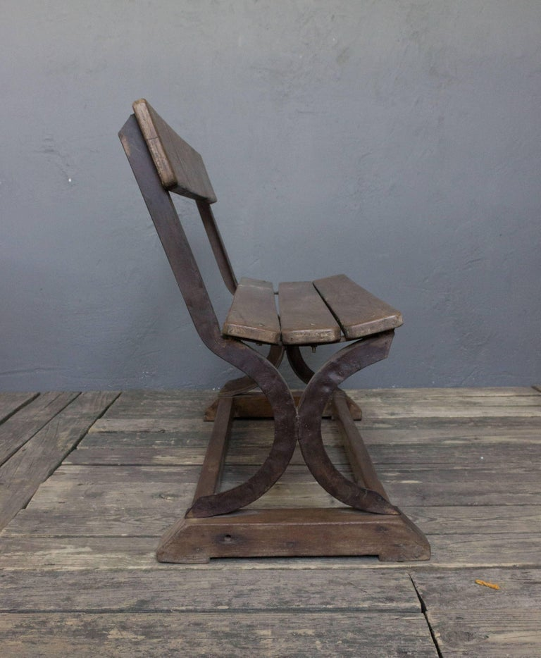 Anglo- Indian 1920s Small Wood and Iron Bench For Sale 1