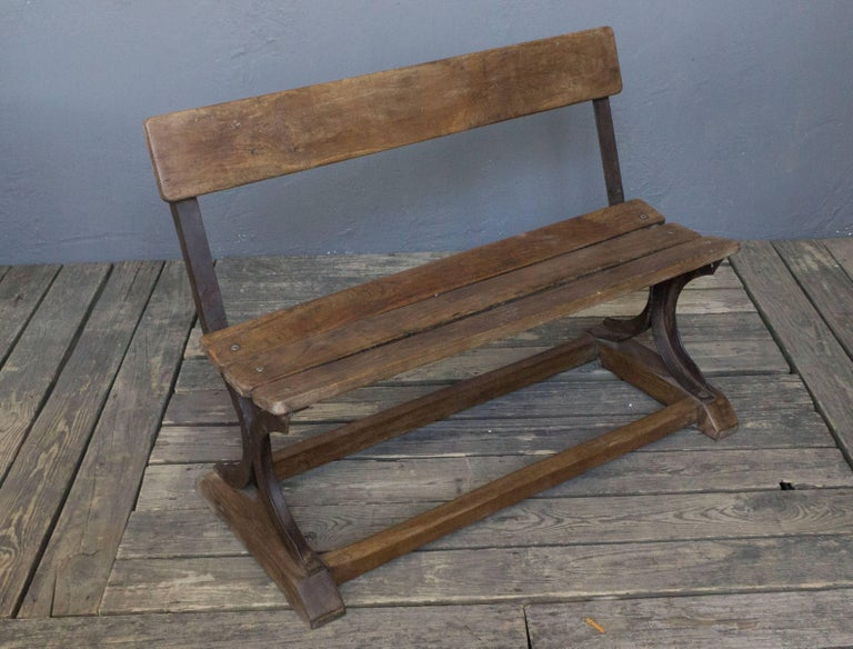 Anglo- Indian 1920s Small Wood and Iron Bench For Sale 5