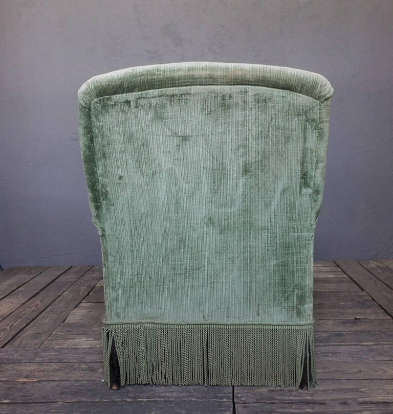 Napoleon III 19th Century Light Green Velvet Chaise For Sale