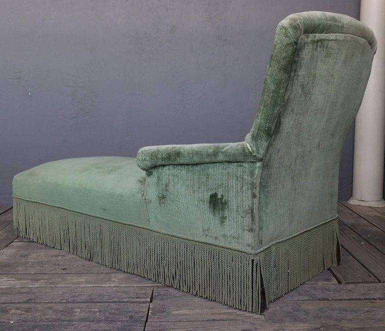 French 19th Century Light Green Velvet Chaise For Sale