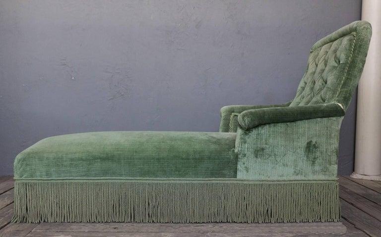 19th Century Light Green Velvet Chaise 5