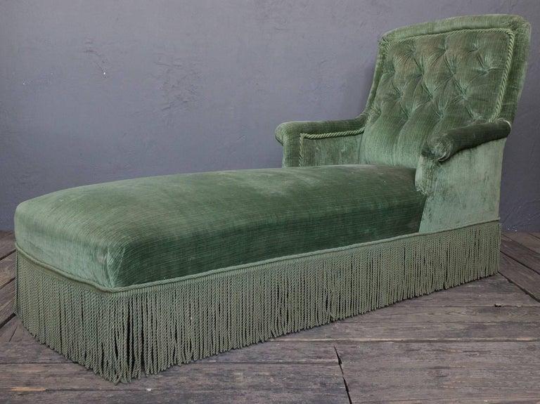 19th Century Light Green Velvet Chaise 7