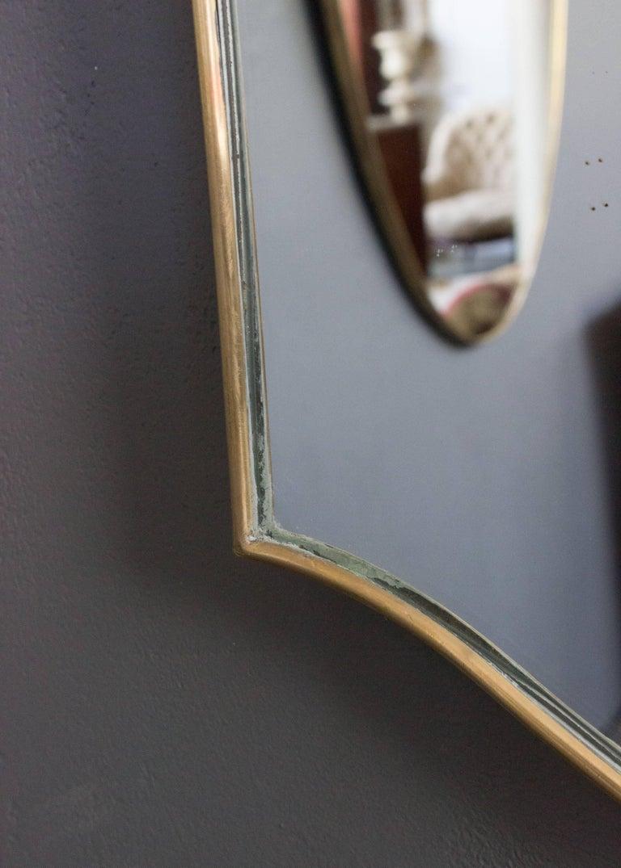 Mid-Century Modern Italian Brass Mirror In Good Condition For Sale In Buchanan, NY