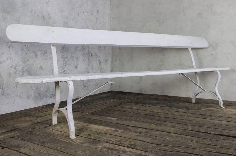 19th Century French White Painted Garden Bench For Sale