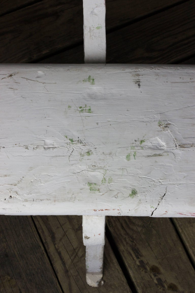 French White Painted Garden Bench For Sale 1