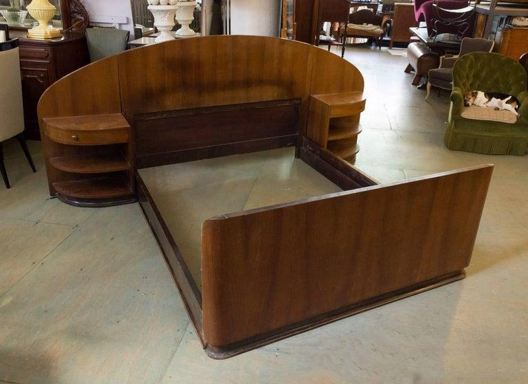 Veneer French Art Deco Mahogany Bed with Built in Nightstands