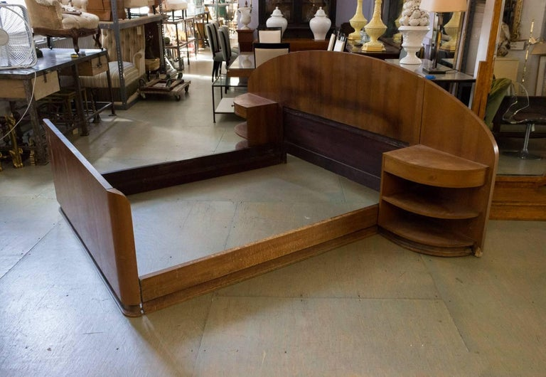 French Art Deco Mahogany Bed with Built in Nightstands In Fair Condition In Buchanan, NY