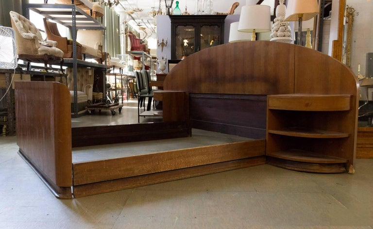 20th Century French Art Deco Mahogany Bed with Built in Nightstands
