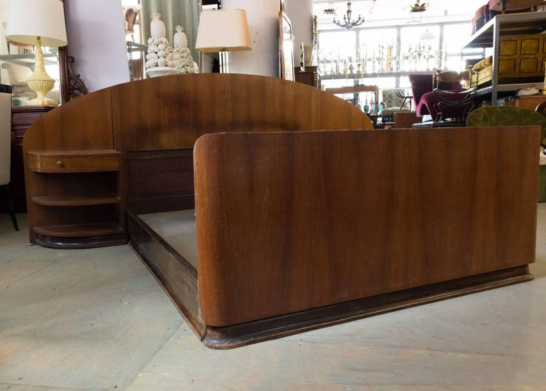 French Art Deco Mahogany Bed with Built in Nightstands 1