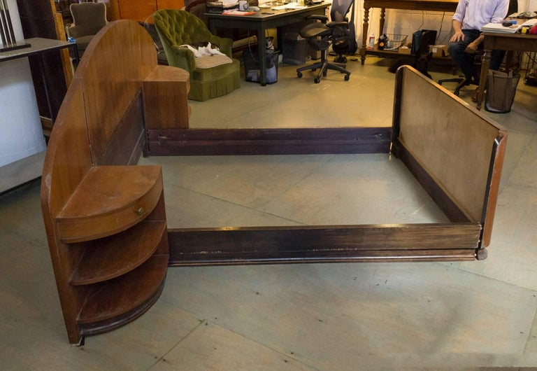 French Art Deco Mahogany Bed with Built in Nightstands 2