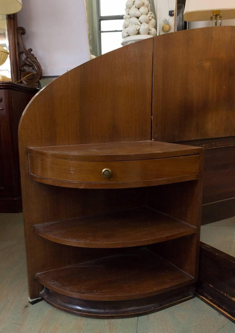 French Art Deco Mahogany Bed with Built in Nightstands 5