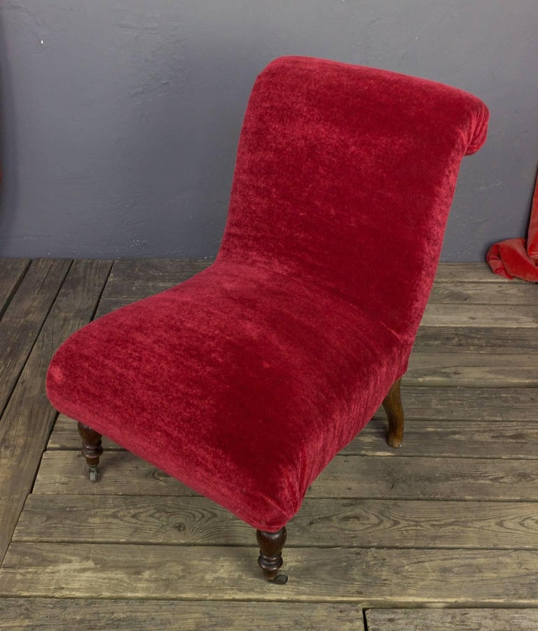 Spanish Red Scrollback Slipper Chair For Sale