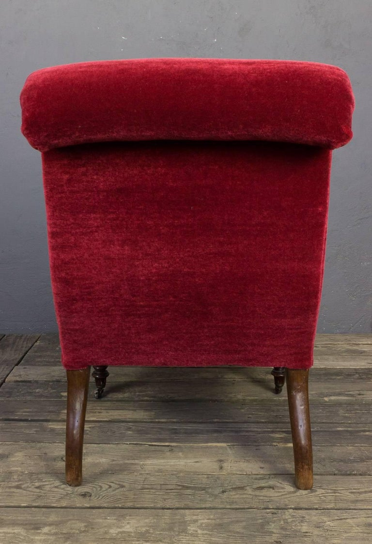 19th Century Red Scrollback Slipper Chair For Sale