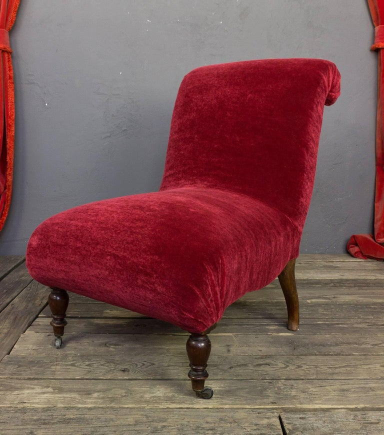 Slipper chair, Spanish, recently upholstered in a rich red mohair.