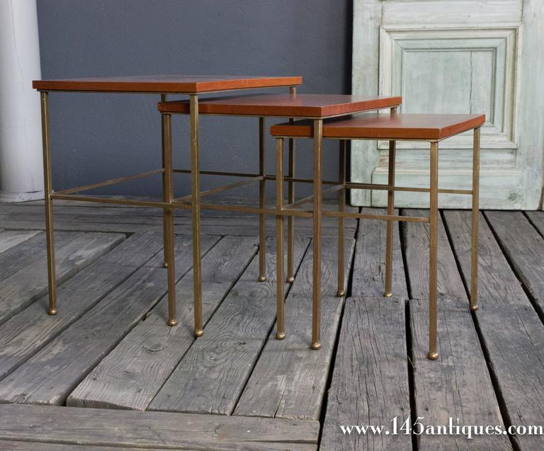 Mid-Century Modern Set of Three Nesting Tables For Sale