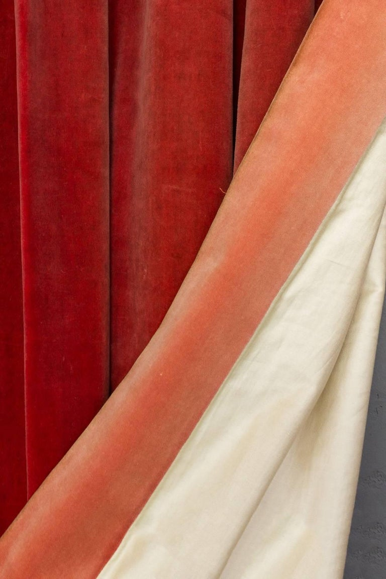 Two Pairs of Paprika Color Velvet Drapes For Sale 3