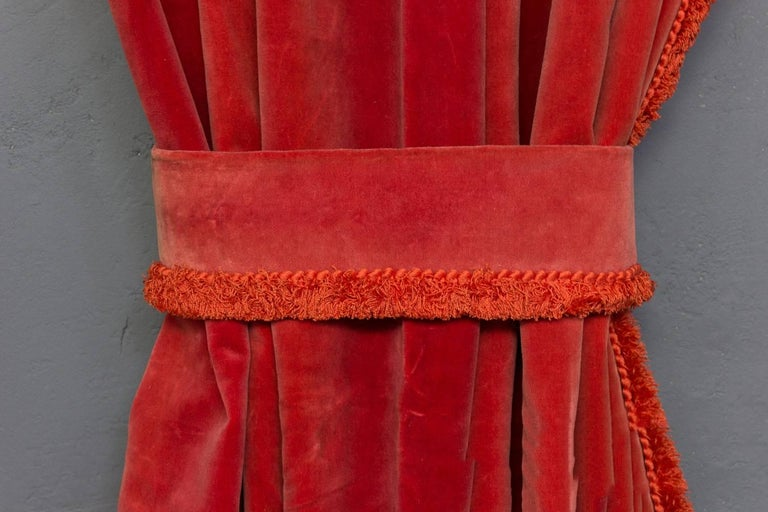 Two Pairs of Paprika Color Velvet Drapes For Sale 5