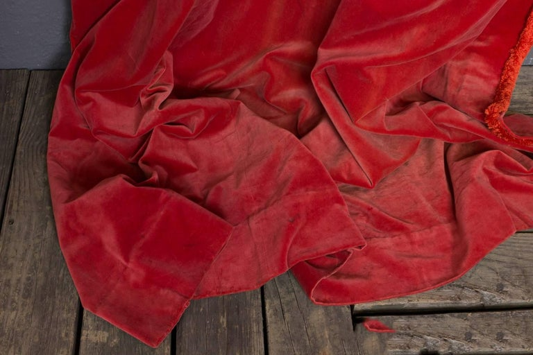 Two Pairs of Paprika Color Velvet Drapes For Sale 4