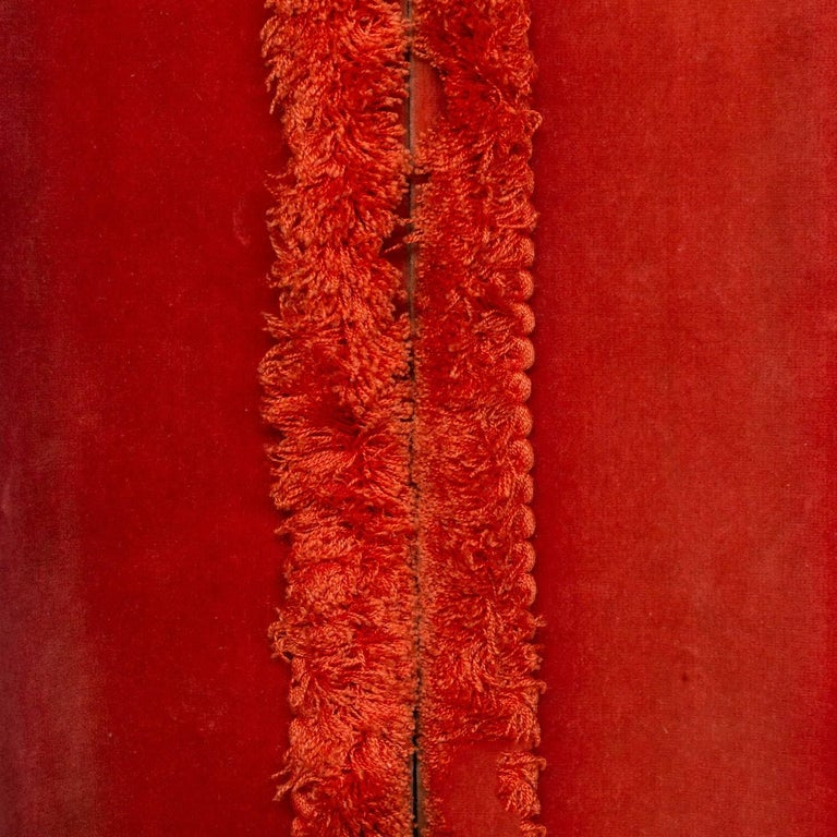 Two Pairs of Paprika Color Velvet Drapes In Good Condition For Sale In Long Island City, NY
